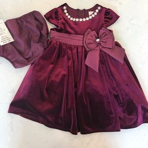 Rare Editions 18 month burgundy velvet dress